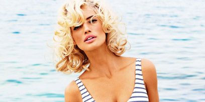 Clothing, Hairstyle, Skin, Brassiere, Human body, Shoulder, Photograph, Joint, Swimsuit top, Chest,