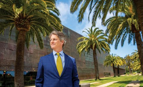 thomas campbell, director and ceo of the fine arts museums of san francisco, outside the de young museum, in golden gate park