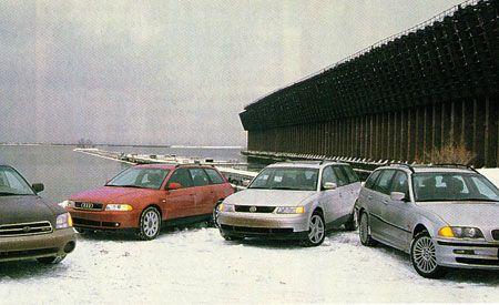Subaru Outback H6-3.0 VDC vs. VW Passat GLX V-6 4Motion, BMW 325xi Sport Wagon, Audi A4 1.8T Avant Quattro