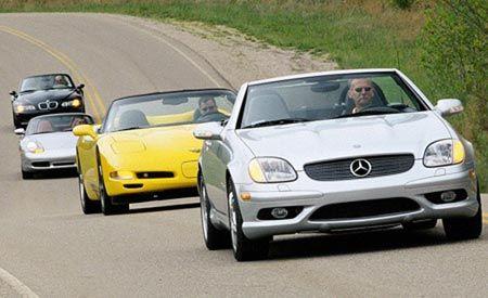 BMW M Roadster vs. Chevy Corvette, M-B SLK32 AMG, Porsche Boxster S