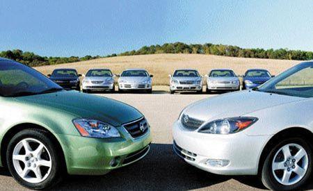 Buick Regal vs. Ford Taurus, Chevy Impala, Dodge Intrepid, Hyundai XG350, Nissan Altima, Toyota Camry, Honda Accord