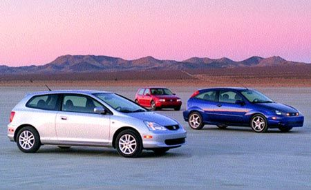 Ford SVT Focus vs. Honda Civic Si, VW GTI