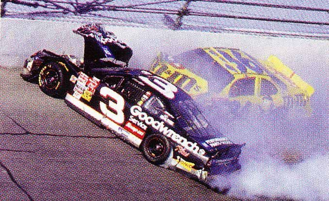 nascar b c before crash and a d after dale feature car and driver. Black Bedroom Furniture Sets. Home Design Ideas