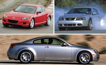 2003 Ford SVT Mustang Cobra vs. Infiniti G35 Coupe, Mazda RX-8