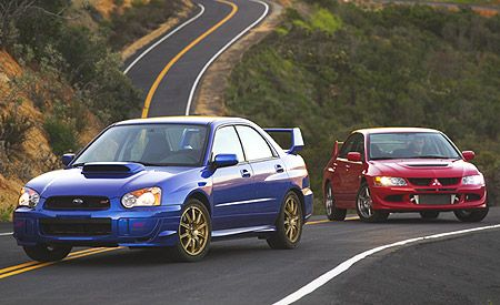 2003 Mitsubishi Lancer Evolution vs. Subaru Impreza WRX STi