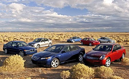 2004 Acura TL vs. Audi A4, BMW 325i, Infiniti G35, Jaguar X-type, Lexus IS300, Saab 9-3