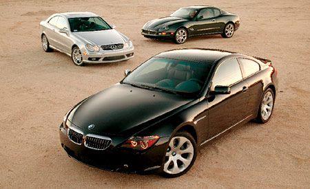 2004 BMW 645Ci vs. Maserati Coupé Cambiocorsa, M-B CLK55 AMG