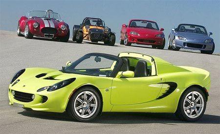 2004 Caterham Seven Superlight R vs. Factory Five Racing Mark II Roadster, Honda S2000, Lotus Elise, Mazdaspeed MX-5 Miata