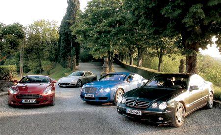 2005 Aston Martin DB9 vs. Bentley Continental GT, Ferrari 612 Scaglietti F1, M-B CL600