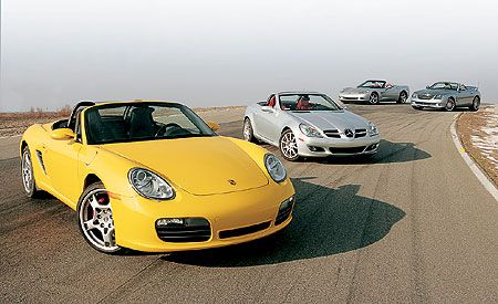 2005 Chevy Corvette vs. Chrysler Crossfire, M-B SLK350, Porsche Boxster