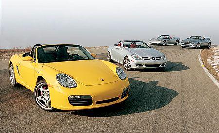 2005 Chevy Corvette vs. Chrysler Crossfire, M-B SLK350, Porsche Boxster
