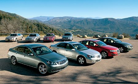 2005 Acura RL vs. 2005 Audi A6, 2005 BMW 530i, and Five More Luxury Sedans