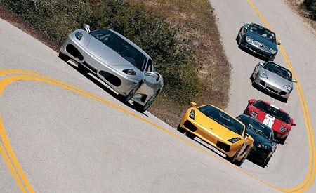 Aston Martin DB9 vs. Ferrari F430, Ford GT, Lamborghini Gallardo, M-B SL65 AMG, Porsche 911 Turbo S Cabriolet