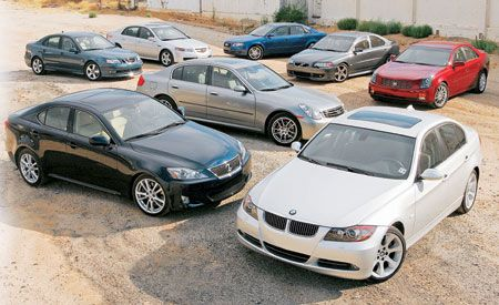 2005 Acura TL vs. 2005 Audi A4, 2006 BMW 330i, and Five More Entry-Luxury Sedans
