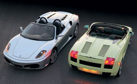 2006 ferrari f430 spider f1 vs lamborghini gallardo spyder. Black Bedroom Furniture Sets. Home Design Ideas