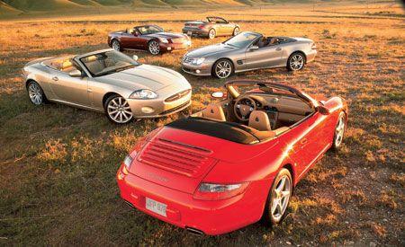 2006 BMW 650i vs. 2006 Cadillac XLR-V, 2007 Jaguar XK, 2007 M-B SL550, 2006 Porsche 911 Carrera