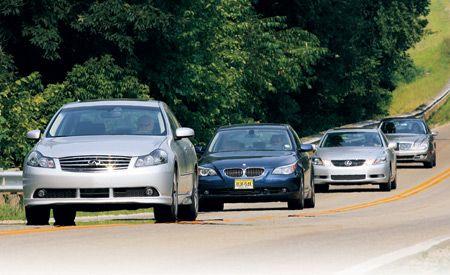 2007 BMW 550i vs. Infiniti M45, Lexus GS450h, M-B E550