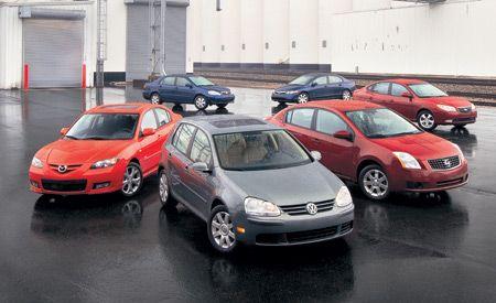 2007 Toyota Corolla Vs. 2006 Honda Civic, 2007 Hyundai Elantra, 2007 Mazda  3, 2007 VW Rabbit, 2007 Nissan Sentra