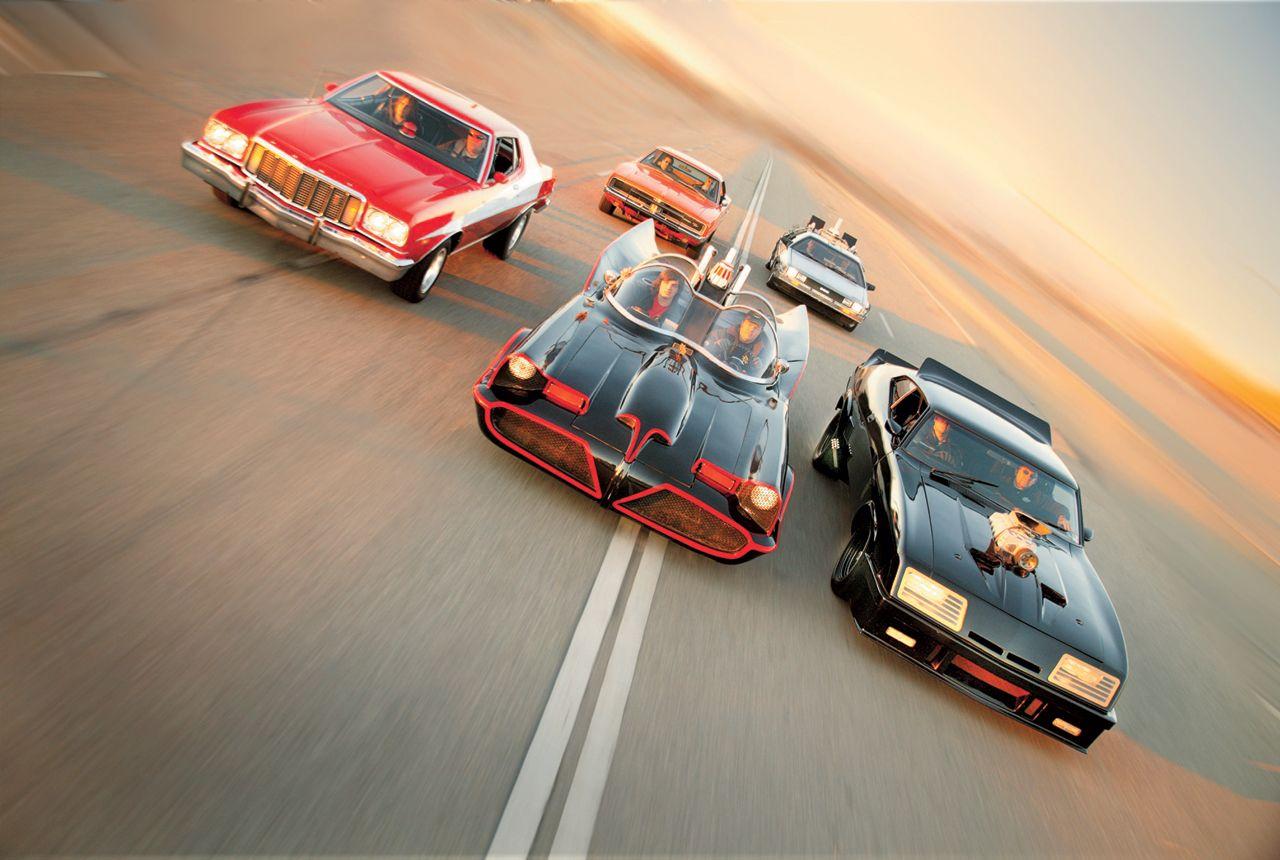 Batmobile vs. Starsky & Hutch Gran Torino, Back to the Future De Lorean Time Machine, Mad Max Falcon Interceptor, General Lee Charger