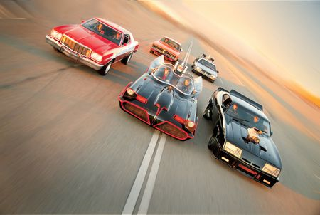 Batmobile vs. Starsky & Hutch Gran Torino, Back to the Future De Lorean Time Machine, Mad Max Falcon Interceptor, General Lee Charger