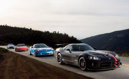 Chevy Corvette Z06 vs. Dodge Viper SRT10 ACR, Nissan GT-R, Porsche 911 GT2