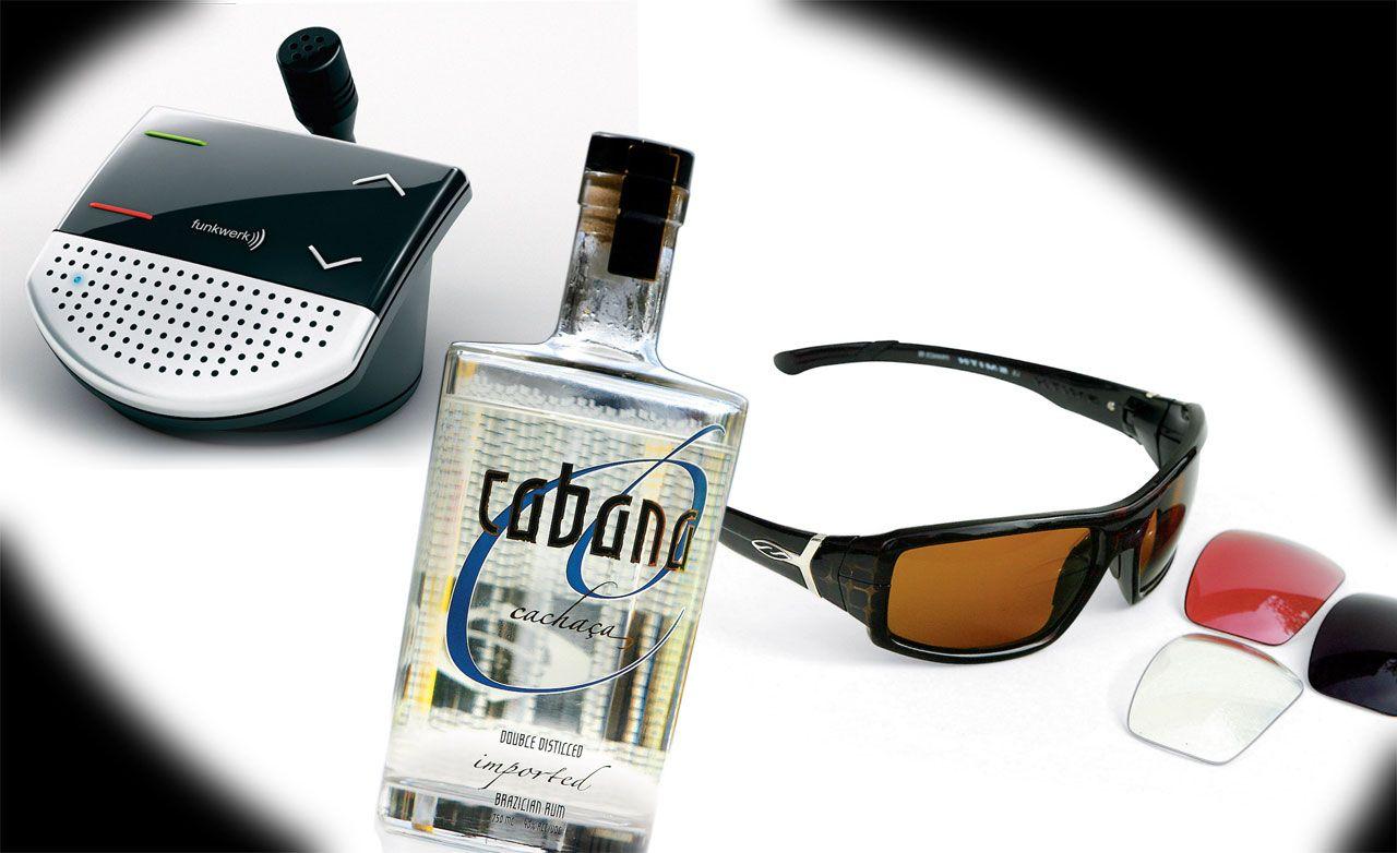 Smith Interlock Prophet Sunglasses, Ego Cup Bluetooth Speakerphone, Cabana Cachaça Brazilian Rum