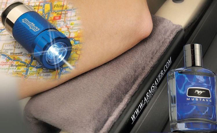 Spotlight LED Flashlight, M5-RoadPro Armrest, and Mustang Blue Cologne