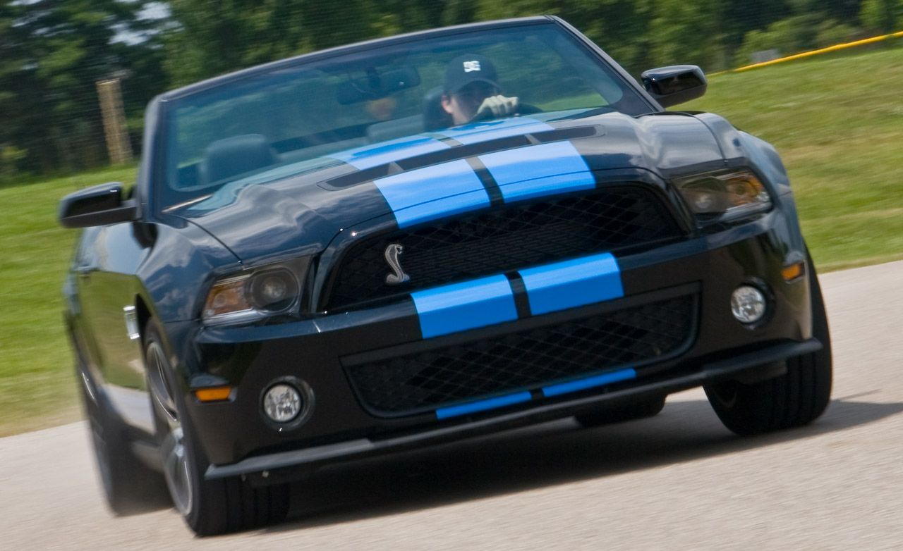 2010 ford mustang shelby gt500 convertible instrumented test car and driver. Black Bedroom Furniture Sets. Home Design Ideas