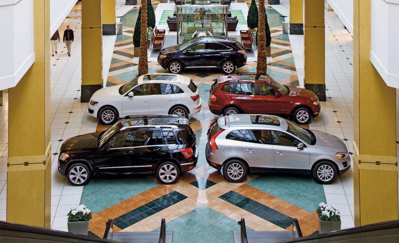 2009 audi q5 vs 2009 bmw x3 2010 m b glk350 2010 volvo xc60 2010 lexus rx350 submodel comparison test car and driver