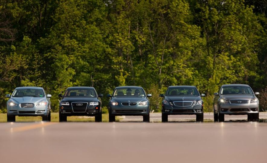 2009 Jaguar XF, 2010 Mercedes-Benz E350, 2009 Audi A6 3.0T Quattro, 2009 Infiniti M45, and 2009 BMW 535i - Slide 6