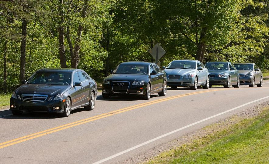 2009 Jaguar XF, 2010 Mercedes-Benz E350, 2009 Audi A6 3.0T Quattro, 2009 Infiniti M45, and 2009 BMW 535i - Slide 4