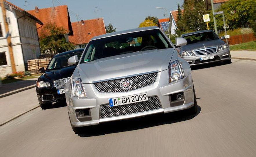 2010 Jaguar XFR, 2009 Cadillac CTS-V, and 2010 Mercedes-Benz E63 AMG sedan - Slide 1