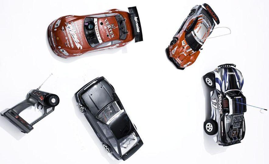 HPI-Racing Nitro RS4 3 Drift Toyota Soarer, Tamiya XB NISMO GT-R R35 TT-01E, Traxxas Slash 2WD Short-Course Race Truck, and HPI-Racing Sprint 2 Sport Drift Trueno - Slide 1