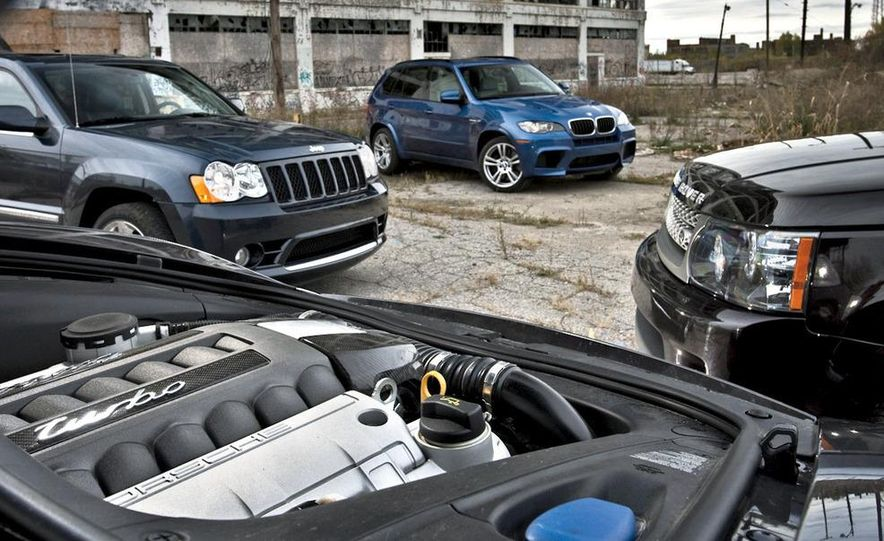 2010 BMW X5 M, 2009 Porsche Cayenne Turbo S, 2010 Jeep Grand Cherokee SRT8, and Land Rover Ranger Rover Sport Supercharged - Slide 2