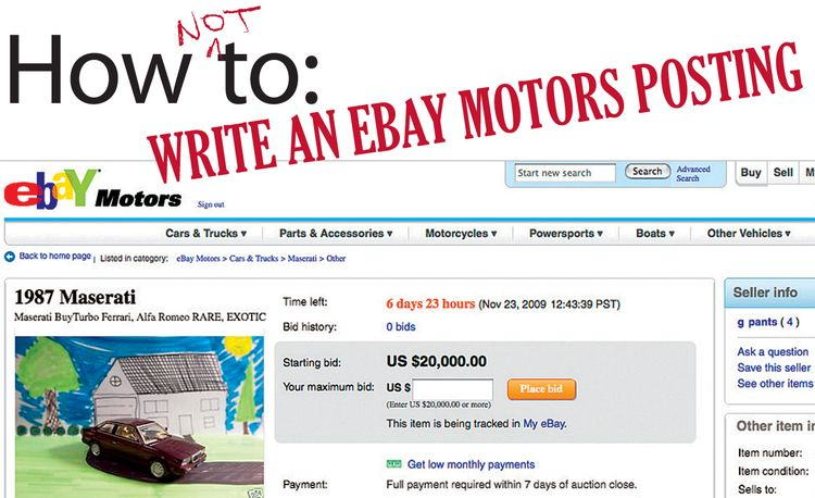 How Not To: Write an eBay Motors Posting