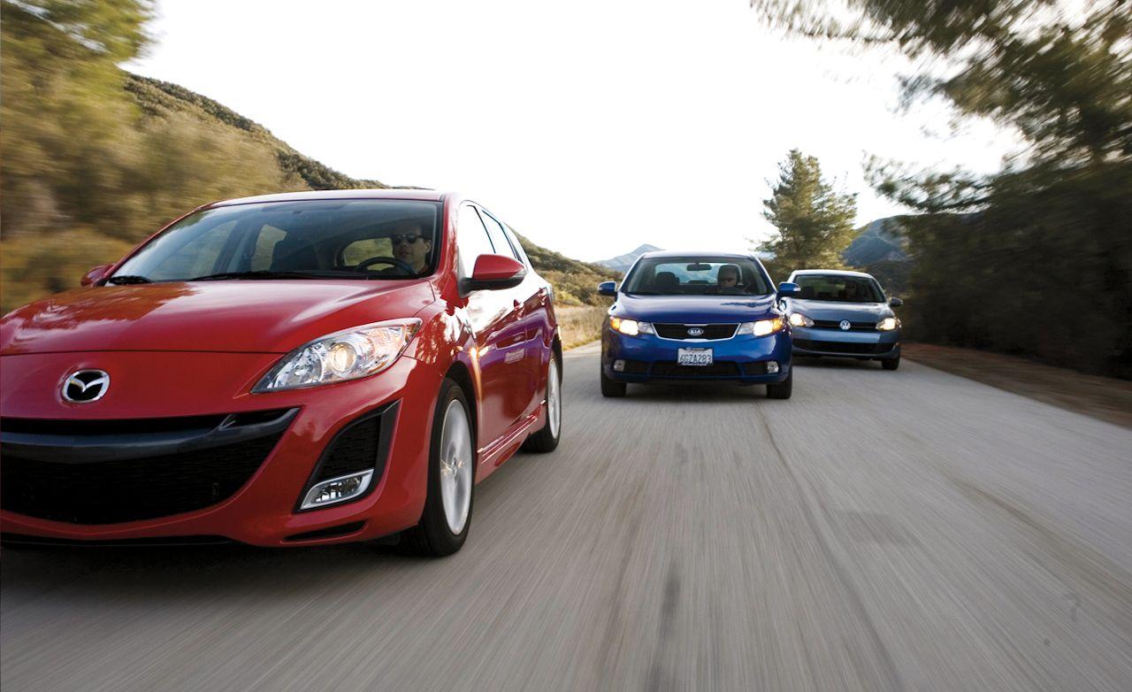 2010 Kia Forte SX vs. 2010 Mazda 3 s Sport, 2010 Volkswagen Golf