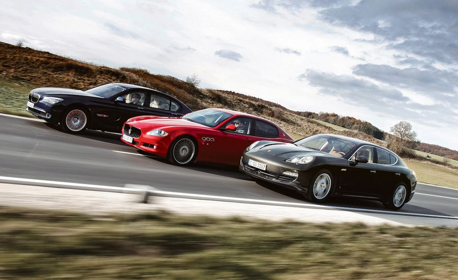 Porsche Panamera S vs. BMW 750i, Maserati Quattroporte Sport GT S