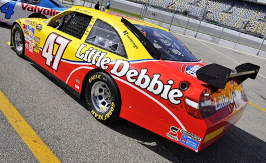 Marcos Ambrose's race car at the Daytona International Speedway for the 2009 NASCAR Sprint Cup Series - Slide 4