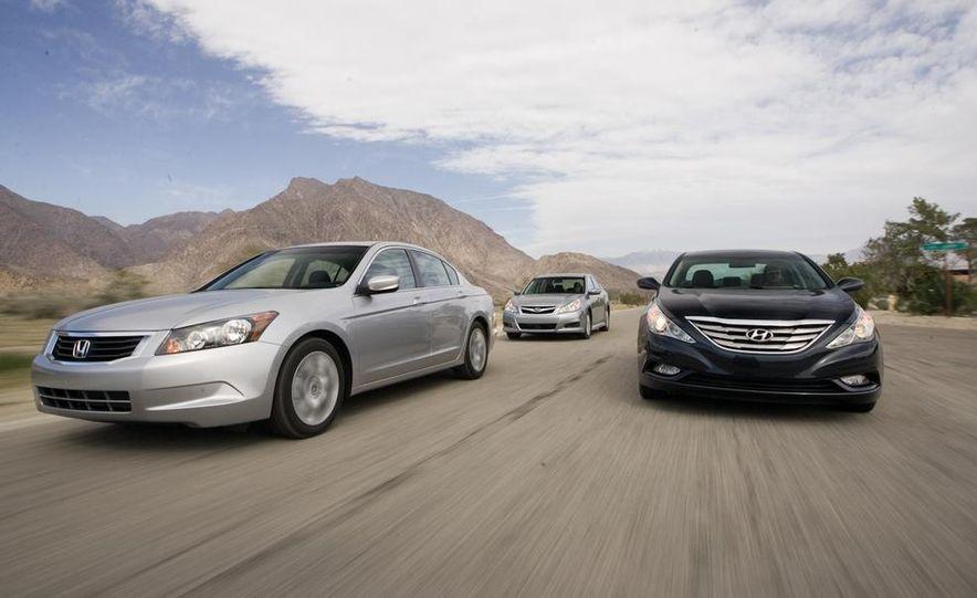 2010 Honda Accord EX, 2010 Subaru Legacy 2.5i, and 2011 Hyundai Sonata SE - Slide 1