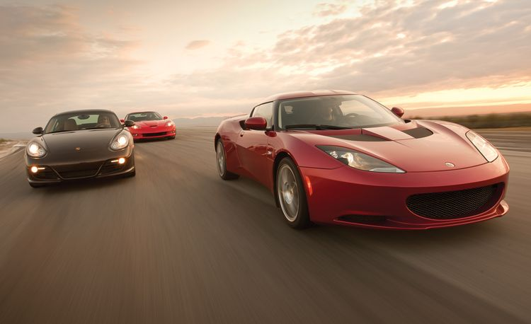 2010 Chevy Corvette Grand Sport vs. 2010 Lotus Evora, 2010 Porsche Cayman S