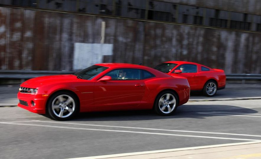 2011 Ford Mustang GT 5.0 coupe, 2010 Chevrolet Camaro SS, 2011 Ford Mustang V-6 coupe, and 2010 Chevrolet Camaro RS - Slide 3