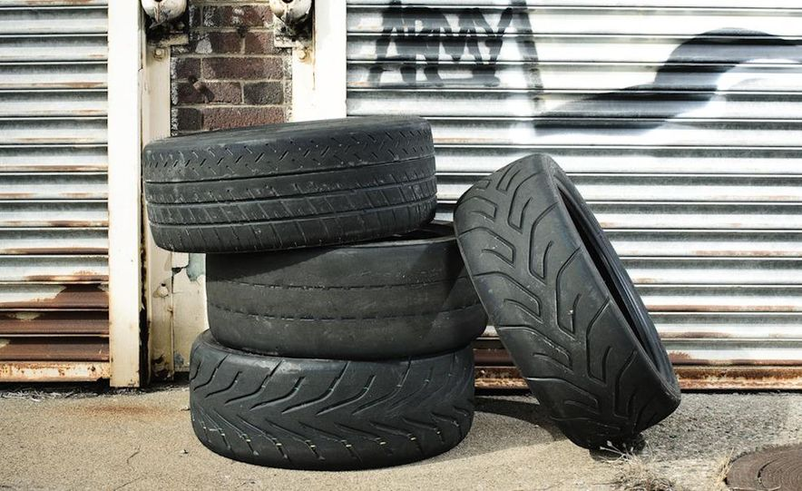 MIchelin Pilot Sport Cup (top, left), BFGoodrich g-Force R1 (left,middle), Toyo Proxes R888 (left, bottom), and Yokohama Advan A048 (right) - Slide 1
