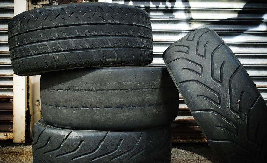 MIchelin Pilot Sport Cup (top, left), BFGoodrich g-Force R1 (left,middle), Toyo Proxes R888 (left, bottom), and Yokohama Advan A048 (right) - Slide 2
