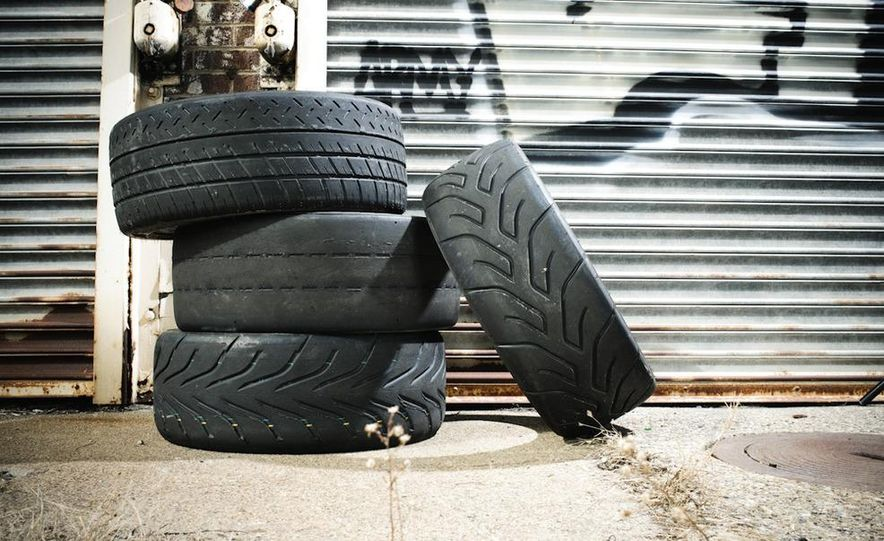 MIchelin Pilot Sport Cup (top, left), BFGoodrich g-Force R1 (left,middle), Toyo Proxes R888 (left, bottom), and Yokohama Advan A048 (right) - Slide 3