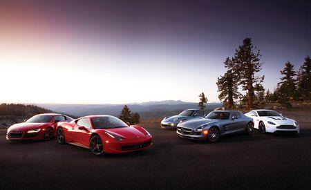 2011 Aston Martin V12 Vantage vs. 2010 Audi R8 5.2 FSI V10, 2011 Ferrari 458 Italia, 2011 Mercedes-Benz SLS AMG, 2011 Porsche 911 Turbo S
