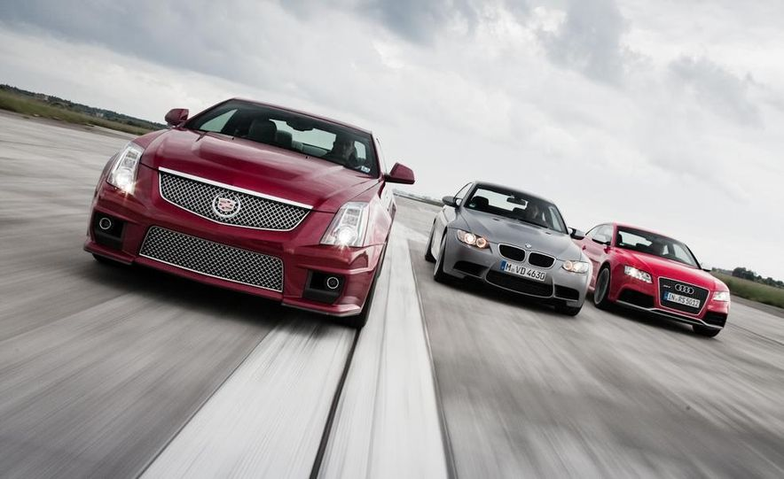 2011 Cadillac CTS-V coupe, 2010 BMW M3 coupe (Euro-spec), and 2011 Audi RS5 - Slide 1