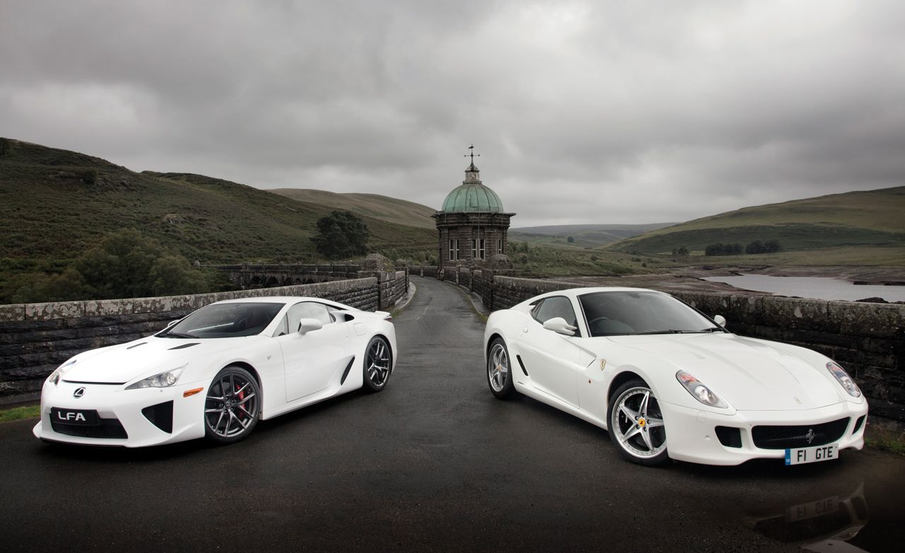 2011 ferrari 599 hgte vs 2012 lexus lfa comparison test car and driver. Black Bedroom Furniture Sets. Home Design Ideas