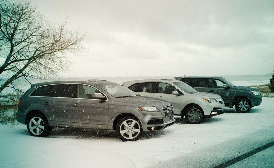 2011 BMW X5 xDrive35i, 2011 Land Rover LR4 HSE, 2011 Audi Q7 3.0T S-line, 2011 Acura MDX, and 2010 Lexus GX460 - Slide 2