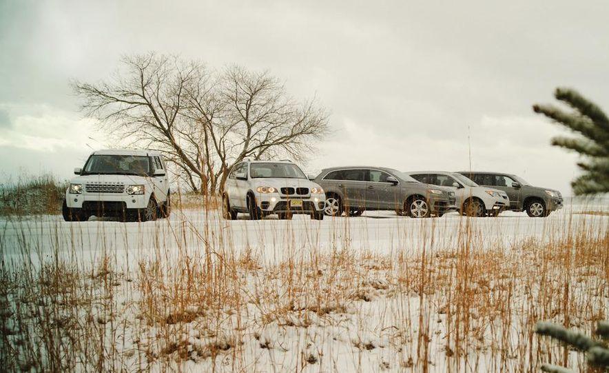 2011 BMW X5 xDrive35i, 2011 Land Rover LR4 HSE, 2011 Audi Q7 3.0T S-line, 2011 Acura MDX, and 2010 Lexus GX460 - Slide 1