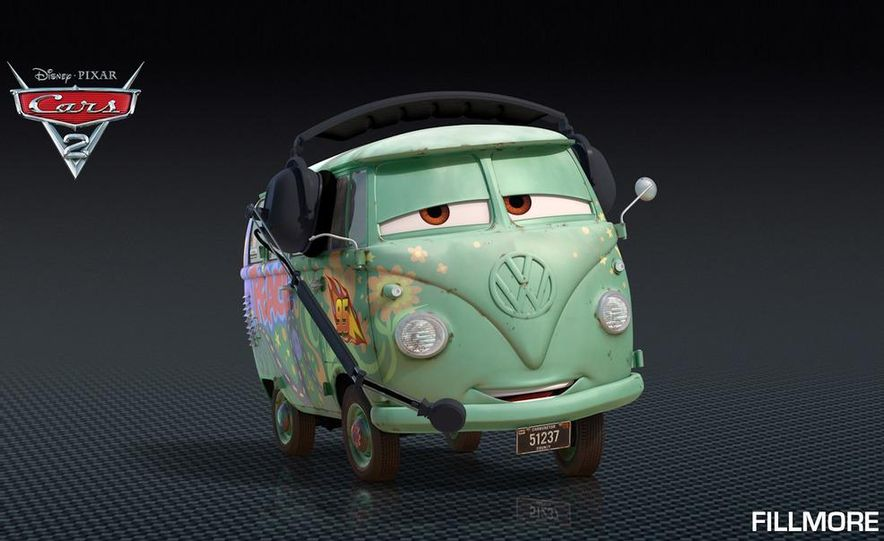 Grem, Acer, Lightning McQueen, Mater, and Finn McMissile in Disney-Pixar's Cars 2 - Slide 11